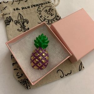 Vintage pineapple pin purple and green
